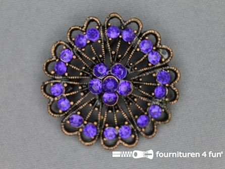 Strass broche 37mm brons - paars