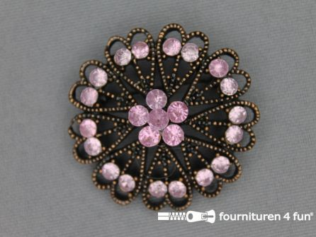Strass broche 37mm brons - licht roze