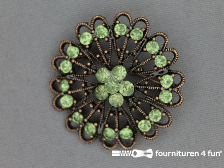 Strass broche 37mm brons - licht groen