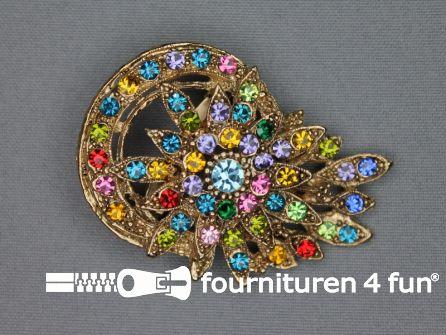 Strass broche 40mm goud - multicolor