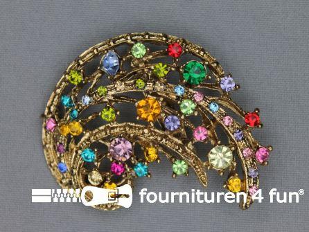 Strass broche 55mm goud - multicolor