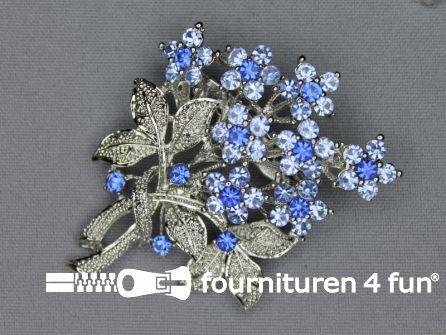 Strass broche 50mm boeket licht blauw