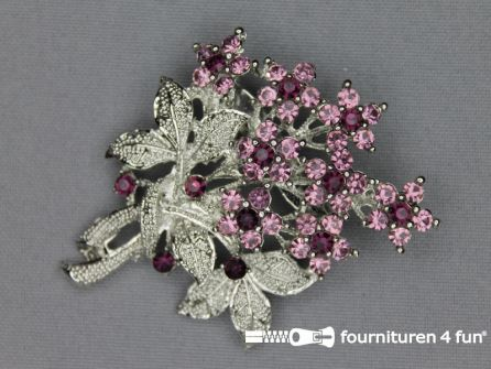 Strass broche 50mm boeket antique roze