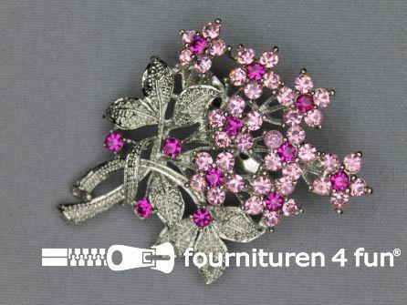 Strass broche 50mm boeket licht roze