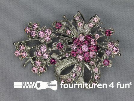 Strass broche 65mm strik antique roze