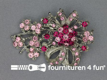 Strass broche 65mm strik licht roze