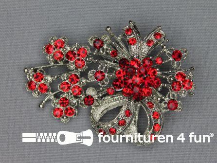 Strass broche 65mm strik rood