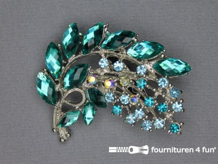 Strass broche 50mm tak turquoise