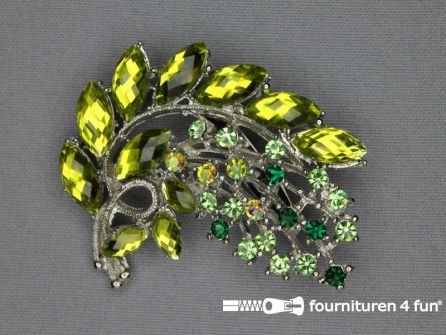 Strass broche 50mm tak olijf groen