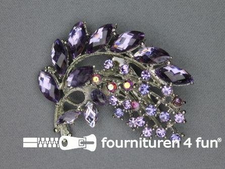 Strass broche 50mm tak lila