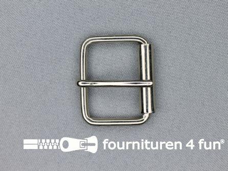 Metalen rolgesp 30mm zilver