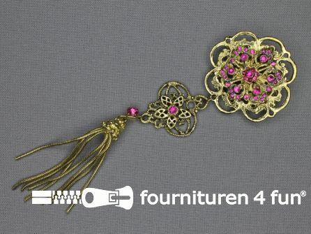 Strass broche 150mm kwast goud - fuchsia roze