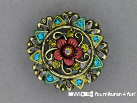 Strass stenen knoop 25mm bloem brons - rood