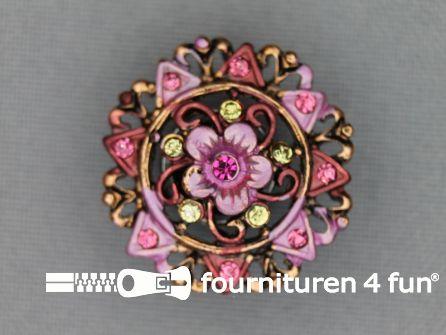 Strass stenen knoop 25mm bloem brons - roze