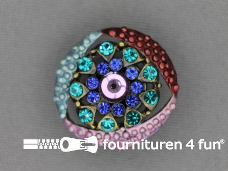 Strass stenen knoop 23mm bloem blauw - roze