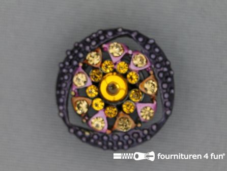 Strass stenen knoop 23mm bloem paars - geel