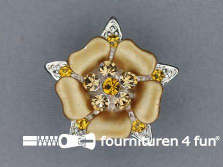 Strass stenen knoop 26mm bloem goud - zilver