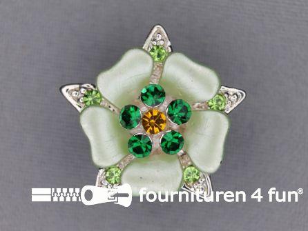Strass stenen knoop 26mm bloem groen - zilver