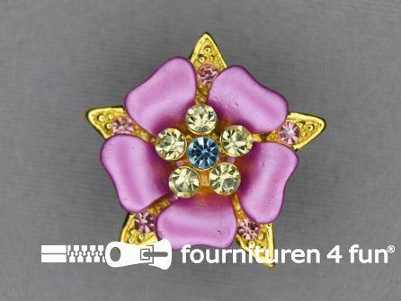 Strass stenen knoop 26mm bloem roze - goud