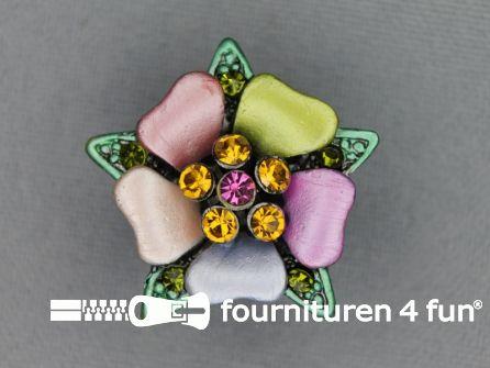 Strass stenen knoop 26mm bloem multicolor - groen