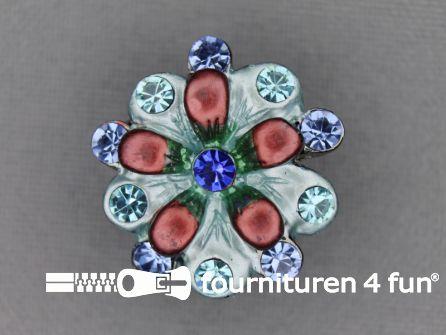 Strass stenen knoop 22mm bloem koraal - blauw