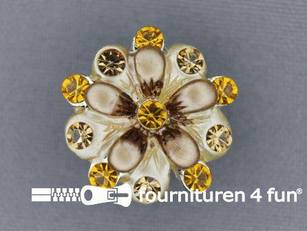 Strass stenen knoop 22mm bloem beige - goud geel