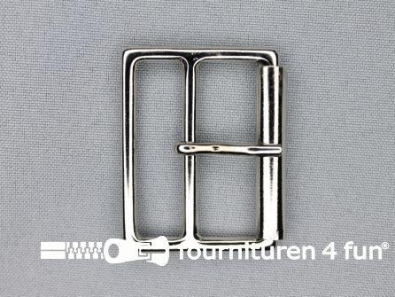Metalen rolgesp 40mm zilver dubbel breed