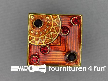 Strass stenen knoop 19mm vierkant warm rood