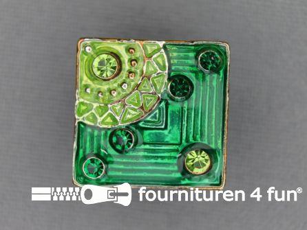 Strass stenen knoop 19mm vierkant gras groen