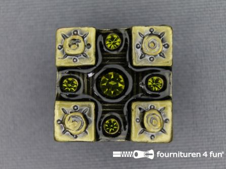 Strass stenen knoop 20mm vierkant geel - zwart