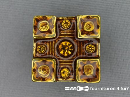 Strass stenen knoop 20mm vierkant geel - camel