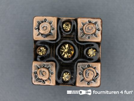 Strass stenen knoop 20mm vierkant rosé - donker bruin