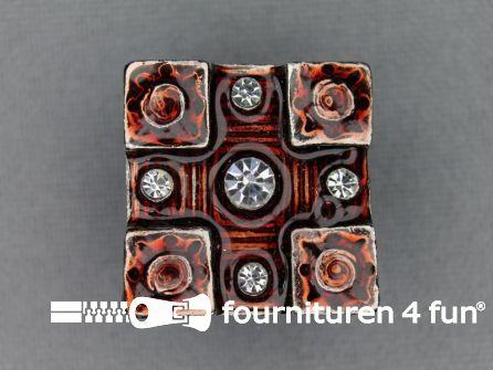 Strass stenen knoop 20mm vierkant rood - zwart