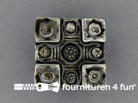 Strass stenen knoop 20mm vierkant zwart zilver