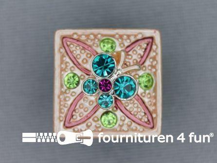 Strass stenen knoop 18mm vierkant licht roze - multicolor