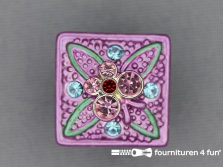 Strass stenen knoop 18mm vierkant lila roze - multicolor