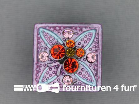 Strass stenen knoop 18mm vierkant lila paars - multicolor