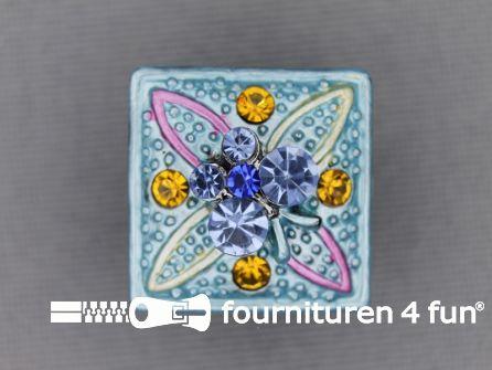 Strass stenen knoop 18mm vierkant licht blauw - multicolor