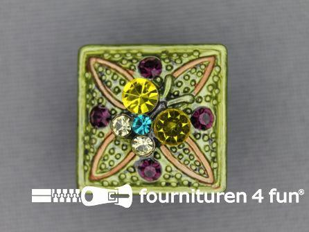 Strass stenen knoop 18mm vierkant licht groen - multicolor