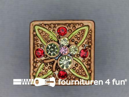 Strass stenen knoop 18mm vierkant brons bruin - multicolor
