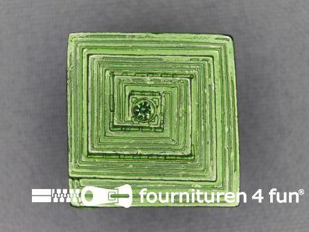 Strass stenen knoop 22mm vierkant appeltjes groen