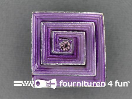Strass stenen knoop 22mm vierkant lila