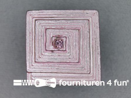 Strass stenen knoop 22mm vierkant licht roze