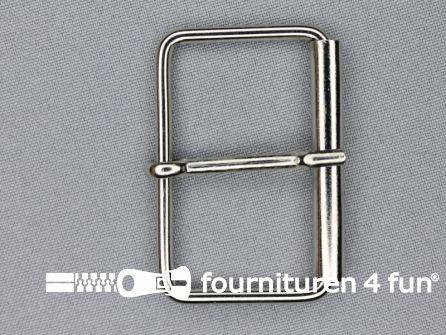 Metalen rolgesp 50mm zilver