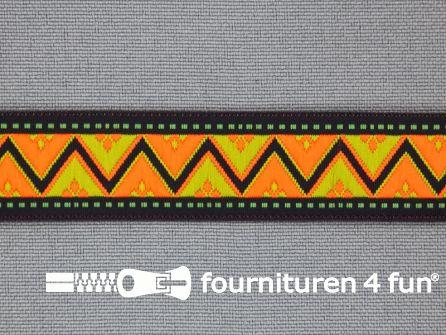 Indianenband 18mm neonoranje - zwart