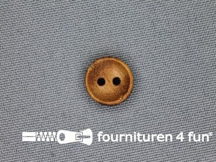 Houten knoop 13mm glad donker