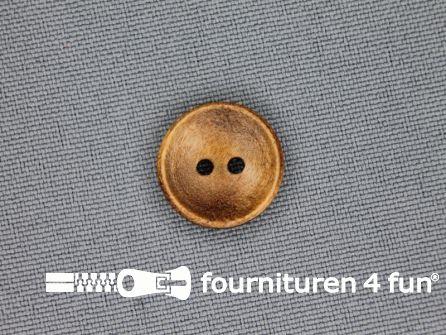 Houten knoop 15mm glad donker