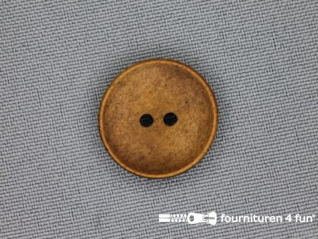 Houten knoop 20mm glad donker