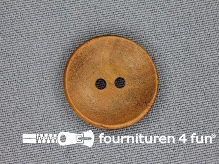 Houten knoop 23mm glad donker