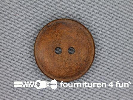 Houten knoop 25mm glad donker